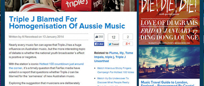 Triple J Blamed For Homogenisation Of Australian Music Websites