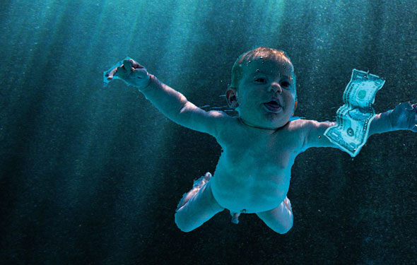 Nevermind baby swimming after a dollar