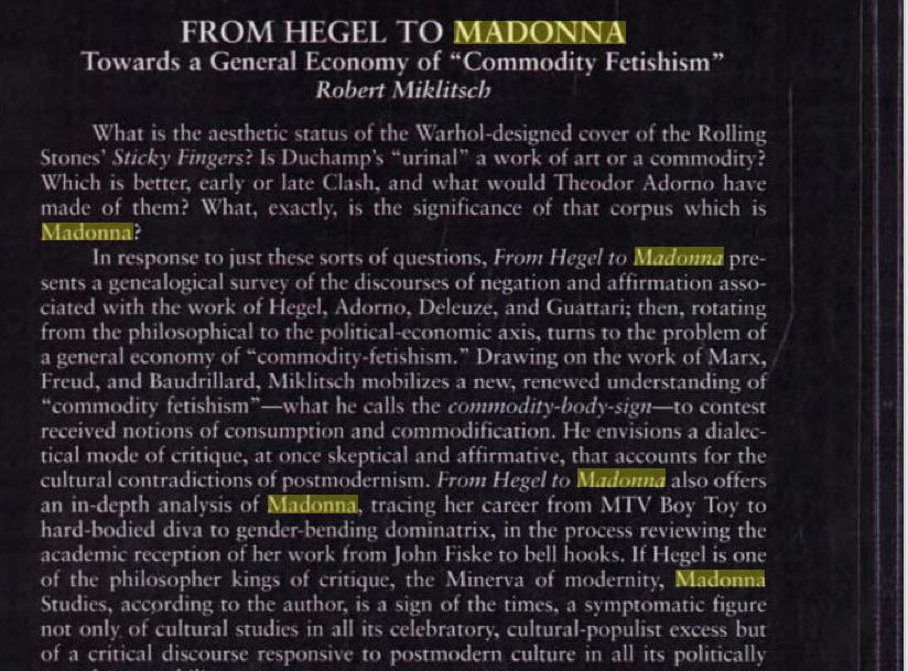 From Hegel to Madonna