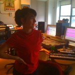 Kathleen Hanna in the studio recording The Julie Ruin record