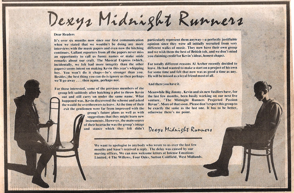 Dexys Midnight Runners music press ad