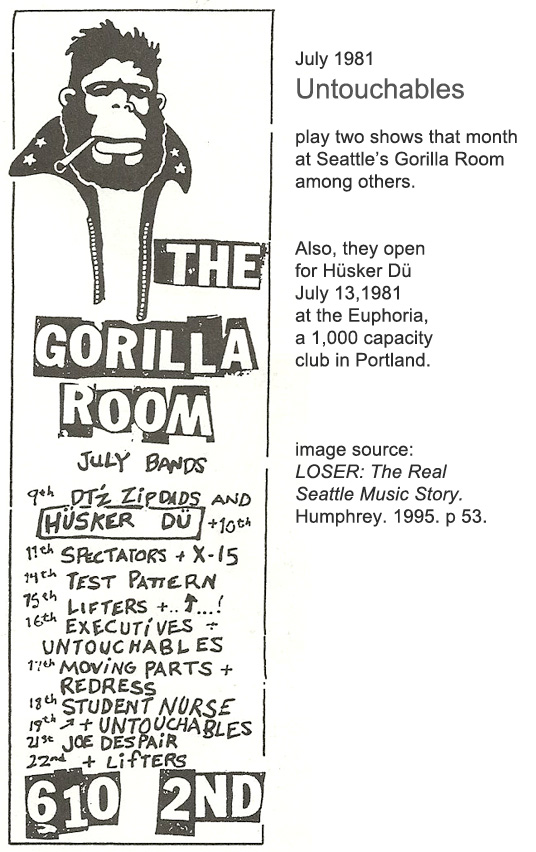 Untouchables at Seattle Gorilla Room - July 1981